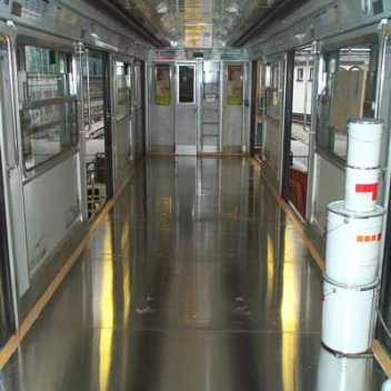Train wagon with aluminium floor panels by Alfipa.